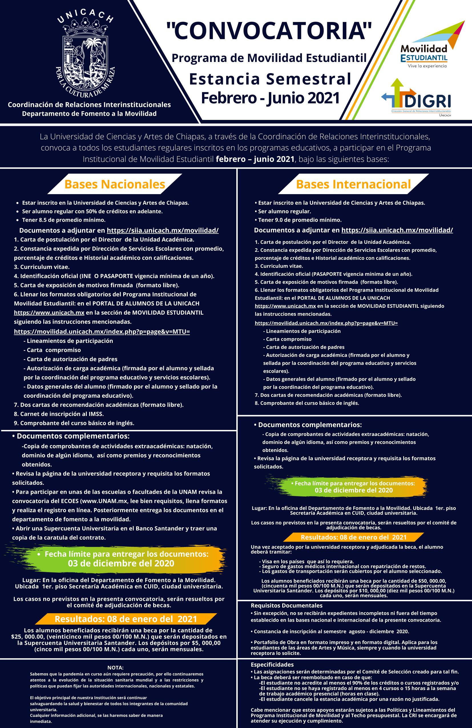 Convocatoria Estancia Semestral Febrero - Junio 2021 UNICACH (1)(1)