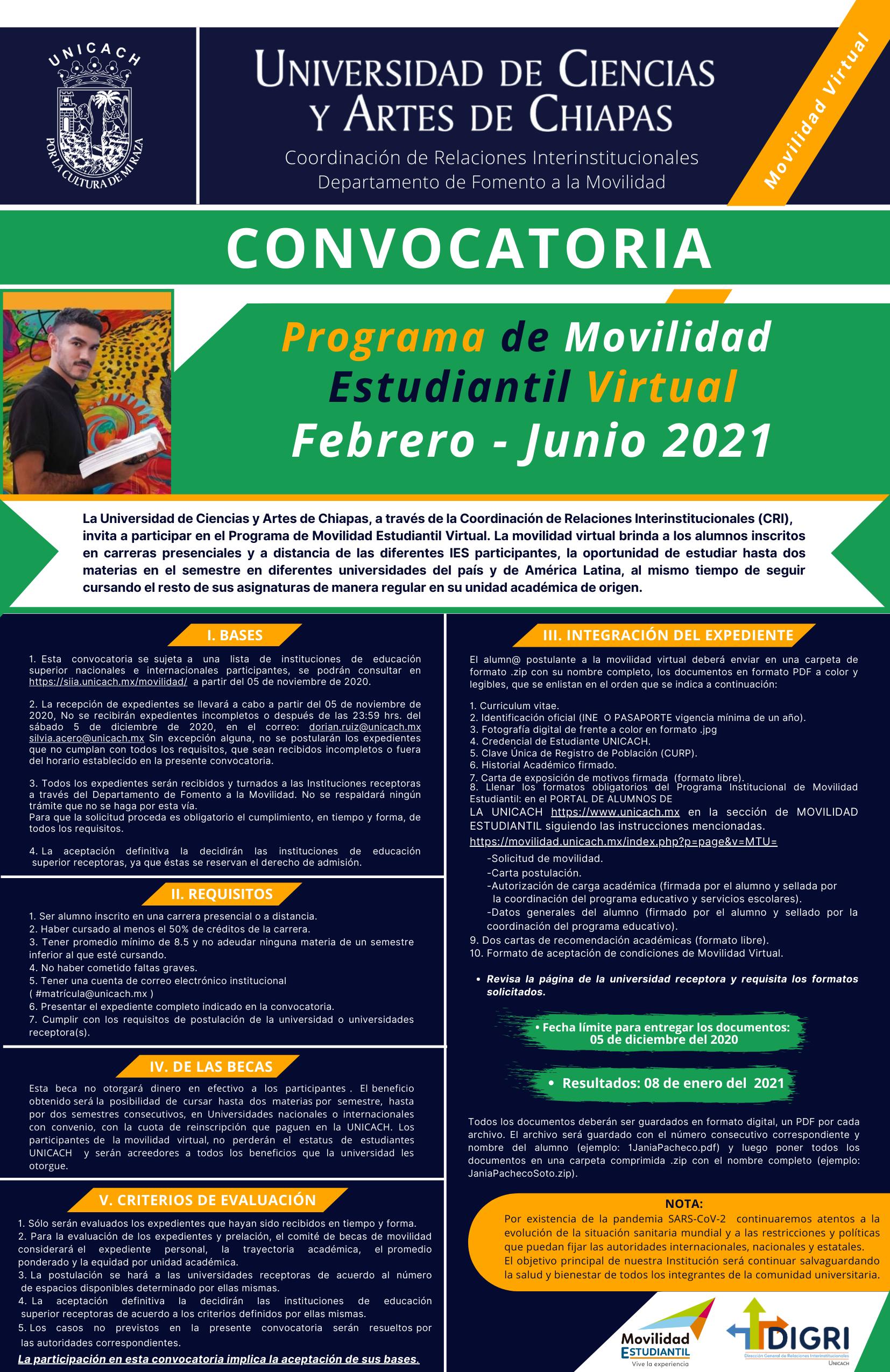Convocatoria Programa de Movilidad Estudiantil Virtual Febrero - Junio 2021 UNICACH